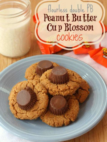 Flourless Double Peanut Butter Cup Blossom Cookies {Gluten Free}