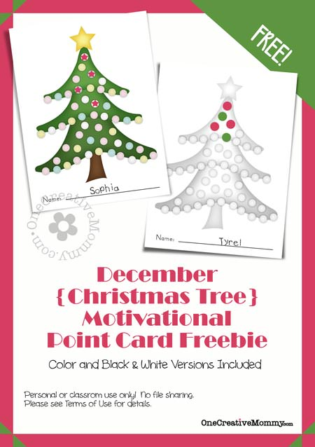 Free Motivational Point Cards for Kids {OneCreativeMommy.com} Let your kids know when they've done something great! #motivatekids #parenting