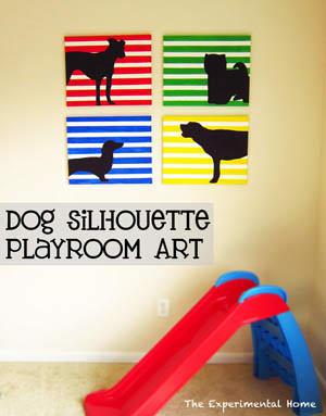 Dog Silhouette Playroom Art
