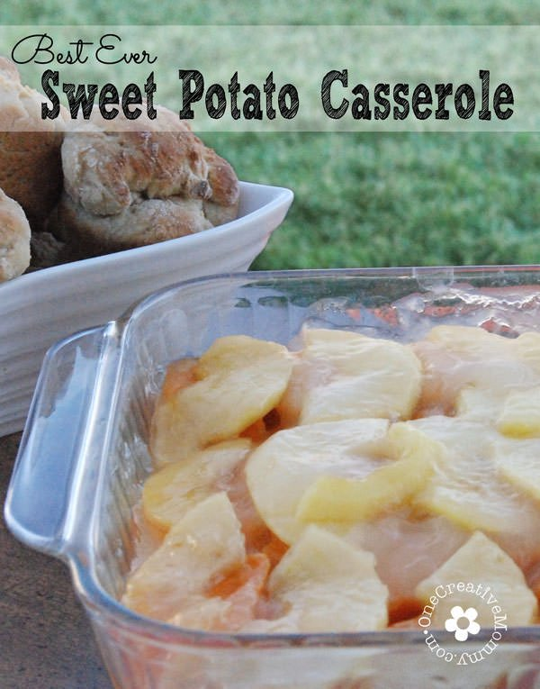Best Ever Sweet Potato Casserole Recipe--Perfect for Thanksgiving Dinner.  The surprisingly tangy/sweet flavor of the apples with the sweet potatoes is a hit every time I serve this dish! {OneCreativeMommy.com} Naturally gluten free!