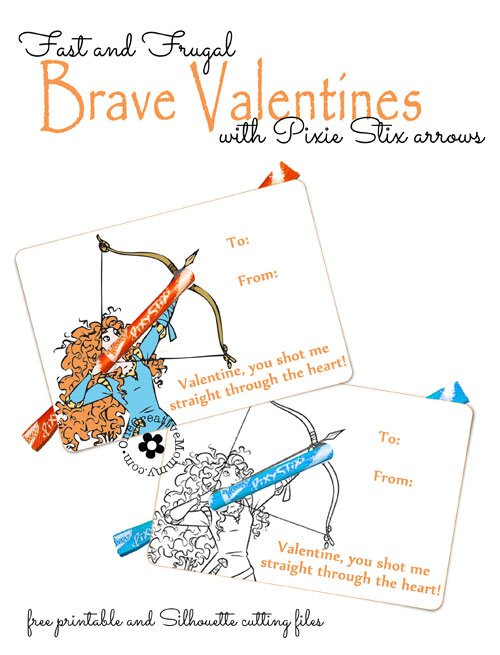 Fast and Frugal Brave Valentines--just print, punch holes, and add Pixie Stix! {OneCreativeMommy.com} Free Printable Disney Valentine