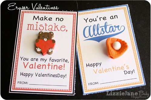 Make No Mistake--Eraser Valentines from Lizzy Jane Baby {Valentine Roundup on OneCreativeMommy.com}