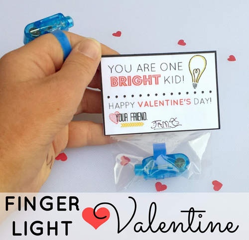 """Finger Light """"You are One Bright Kid"""" Valentine from Haley's Daily Blog {Valentine Roundup on OneCreativeMommy.com}"""