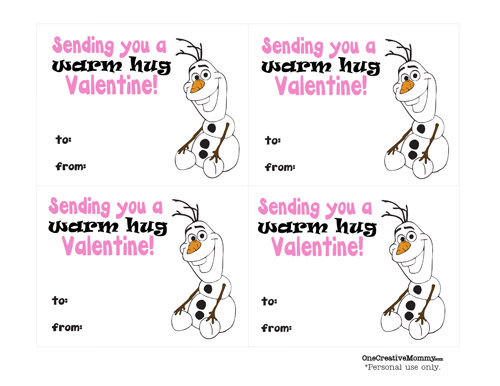 """Frozen """"Warm Hugs"""" Valentines {Free Printable from OneCreativeMommy.com} Just print, cut, and add a hug!"""