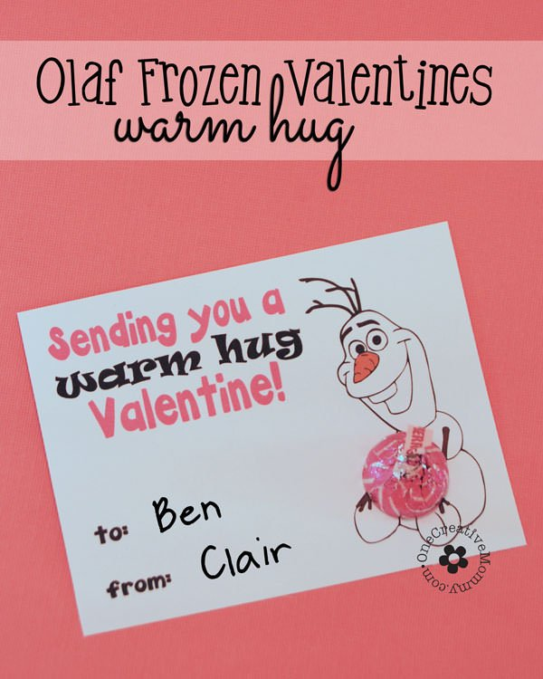 "Disney's Frozen ""Warm Hugs"" Olaf Valentines {Free Printable from OneCreativeMommy.com} Just print, cut, and add a hug! Easy Valentine Idea"