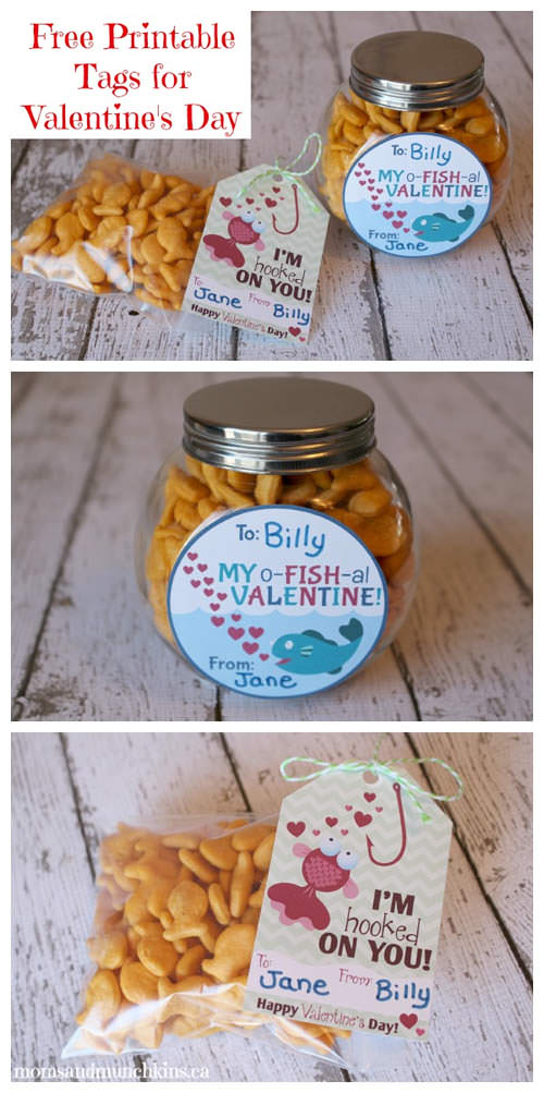 o-FISH-al Goldfish Valentines from Moms and Munchkins {Valentine Roundup on OneCreativeMommy.com}