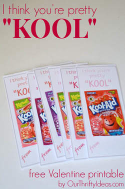 Pretty Kool Valentine printable from Our Thrifty Ideas {Valentine Rounup on OneCreativeMommy.com}