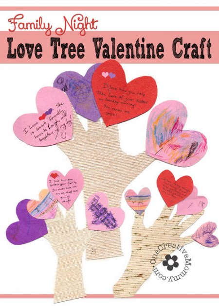 Let the members of your family know what you love about them with these fun Love Tree Valentine Crafts. Perfect for Family Night! {OneCreativeMommy.com} #valentinecrafts #familynight #valentinesday