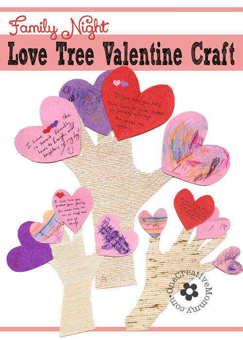 Family Night Valentine Crafts Love Trees  OnecreativemommyCom