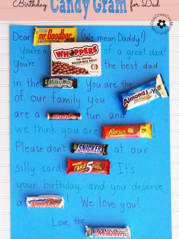 What do you get for the man who has everything? A Candy Gram! My kids planned and wrote this one themselves, and Daddy loved it! {OneCreativeMommy.com} #candygram #birthdaygift