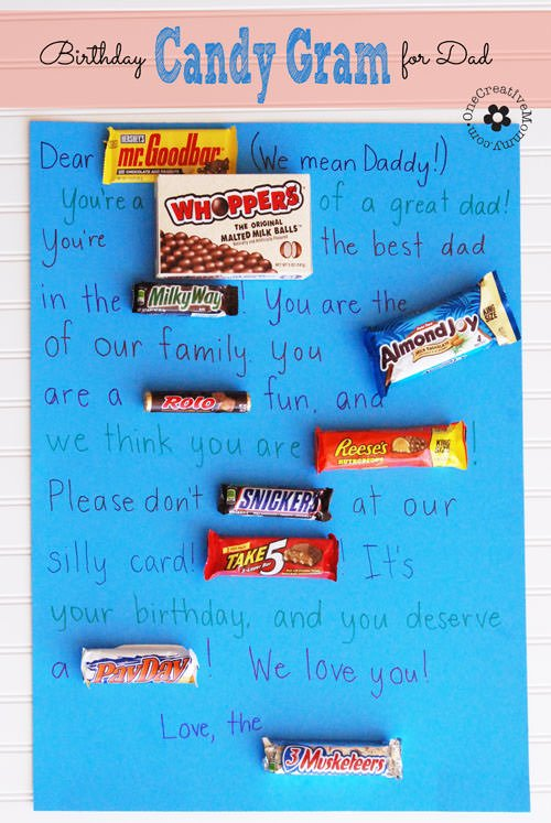 Birthday candy gram for dad for What should you get a guy for his birthday