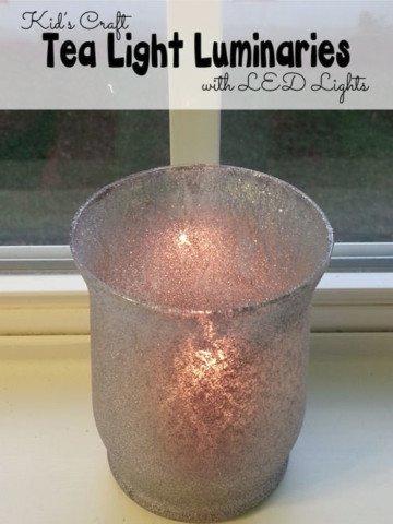 Glitter Mini Tea Light Luminaries--Fun craft for kids using LED lights {OneCreativeMomy.com}