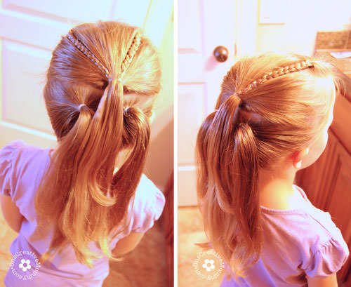 Learn how to create this adorable shamrock hair style for St. Patrick's Day with this simple tutorial from OneCreativeMommy.com {Step 1}