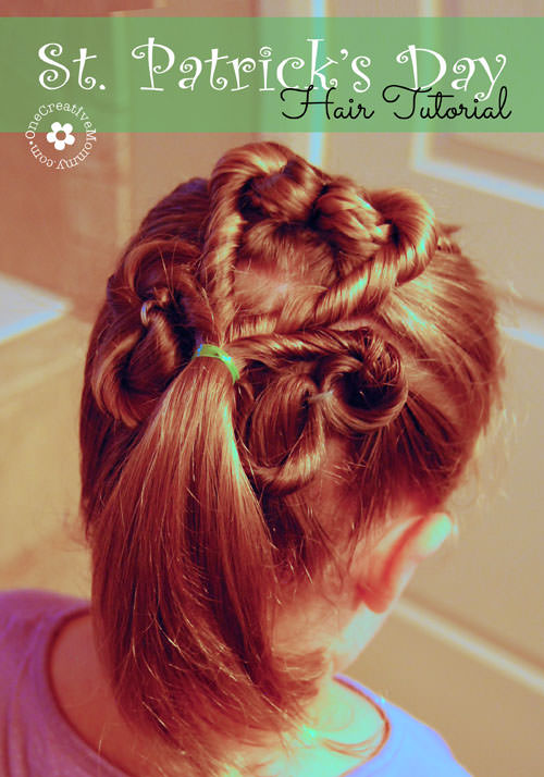 Learn how to create this adorable shamrock hair style for St. Patrick's Day with this simple tutorial from OneCreativeMommy.com