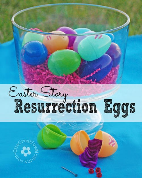 Help your kids focus on the real meaning of Easter with Easter Story Resurrection eggs {Week-long activity from OneCreativeMommy.com}