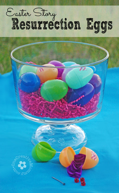 Help your kids focus on the real meaning of Easter with Easter Story Resurrection eggs {A week-long activity that includes discussion ideas and links to Bible Videos} OneCreativeMommy.com
