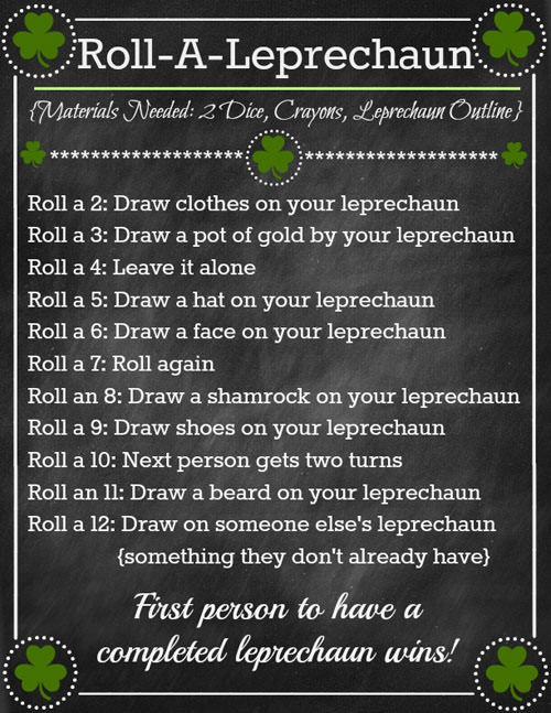 Roll-A-Leprechaun Game from Or So She Says