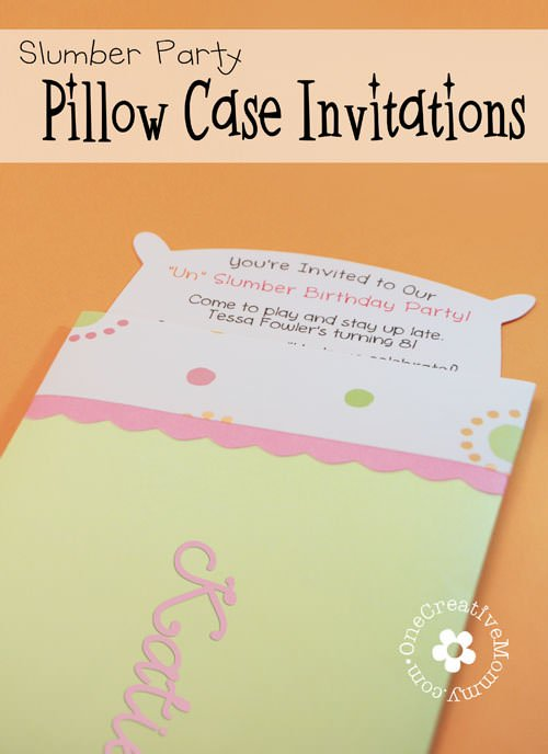 Pillow Case UnSlumber Party Invitations onecreativemommycom