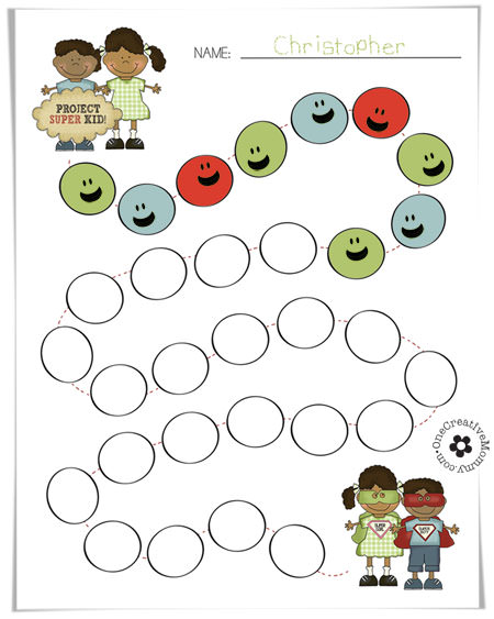 Free Printable Super Kids Goal Chart {Help your kids keep track of the great things they do on the road to becoming Super Kids!} OneCreativeMommy.com