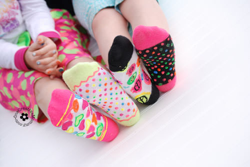 DIY Non-Slip Socks craft for Un-Slumber Party {OneCreativeMommy.com}
