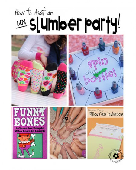 Want a slumber party without the sleepover? Try a Late-Night or Un-Slumber Party instead! {Ideas from OneCreativeMommy.com}
