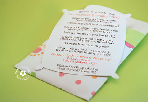 Pillow Case Slumber Party invitations {See more ideas for this party at OneCreativeMommy.com}