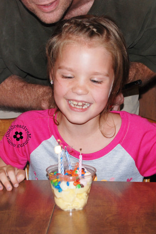 Try a Sundae Bar instead of birthday cake at your next party. Way less work, and the kids love it! {OneCreativeMommy.com}