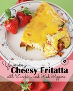My all-time favorite breakfast -- Cheesy Fritatta with Zucchini, Basil and Red Peppers! {Low Carb!} OneCreativeMommy.com