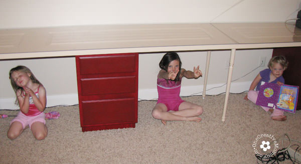 Build a Family Computer Desk on a Budget! OneCreativeMommy.com