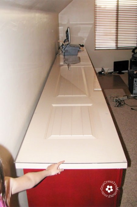 Build a Family Computer Desk on a Budget! {Desktop from closet doors} OneCreativeMommy.com