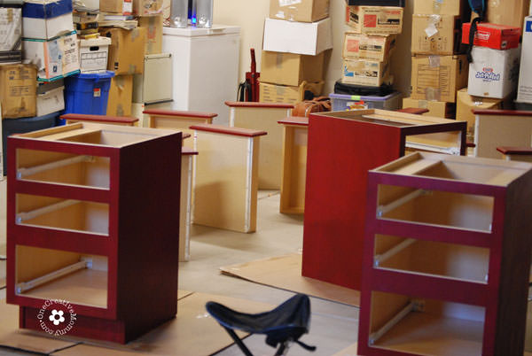 Build A Family Computer Desk On A Budget! {Painting The Pedestals}  OneCreativeMommy.