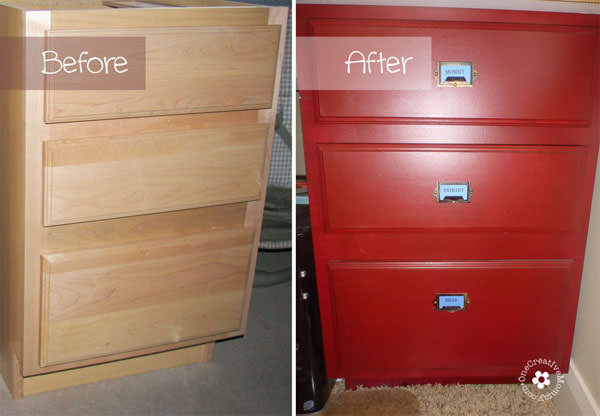 Build a Family Computer Desk on a Budget! {Pedestals Before and After} OneCreativeMommy.com