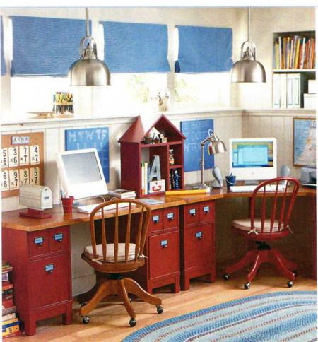 Build a Family Computer Desk on a Budget! {My Pottery Barn inspiration desk} OneCreativeMommy.com