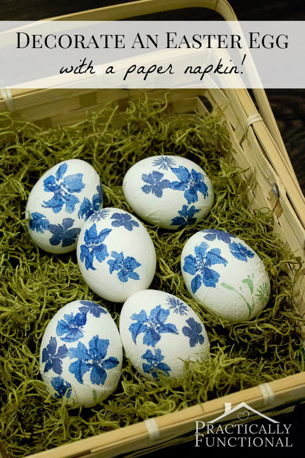How to Decorate Easter Eggs with Paper Napkins from Practically Functional {Unique Easter Decorating Ideas Roundup on OneCreativeMommy.com}