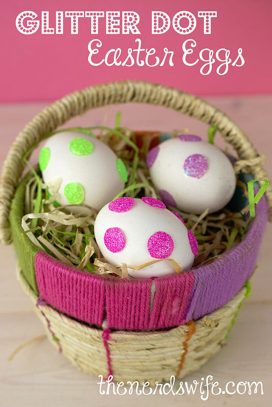 Glitter Dot Easter Eggs from the Nerd's Wife {Unique Easter Decorating Ideas from OneCreativeMommy.com}