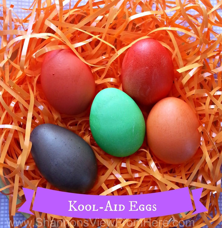 Kool Aid Eggs from Shannon's View From Here {Unique Easter Decorating Ideas from OneCreativeMommy.com}