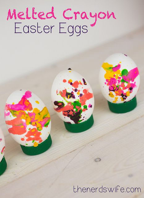 Melted Crayon Eggs from the Nerd's Wife {Unique Easter Decorating Ideas from OneCreativeMommy.com}
