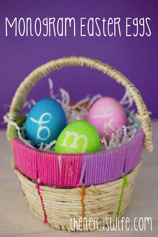 Monogram Easter Eggs from The Nerd's Wife {Unique Easter Decorating Ideas from OneCreativeMommy.com}