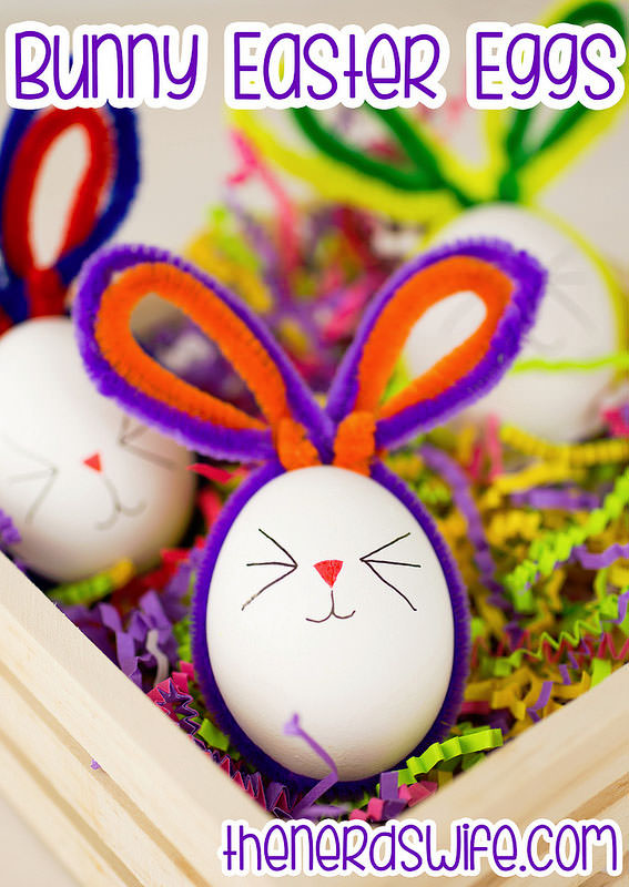 Pipe Cleaner Bunny Easter Eggs from the Nerd's Wife {Unique Easter Egg Decorating Ideas on OneCreativeMommy.com}