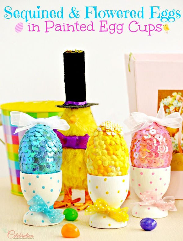 Sequined and Flowered Eggs from Little Miss Celebration {Unique Easter Decorating Ideas from OneCreativeMommy.com}