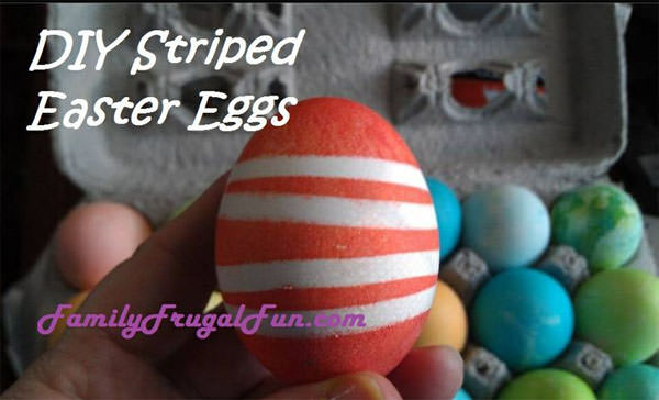 Striped Easter Eggs from Family Frugal Fun {Unique Easter Decorating Ideas from OneCreativeMommy.com}