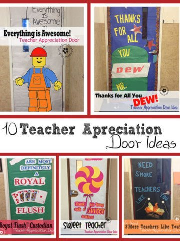 10 Awesome Teacher Appreciation Ideas for Door Decorating from OneCreativeMommy.com