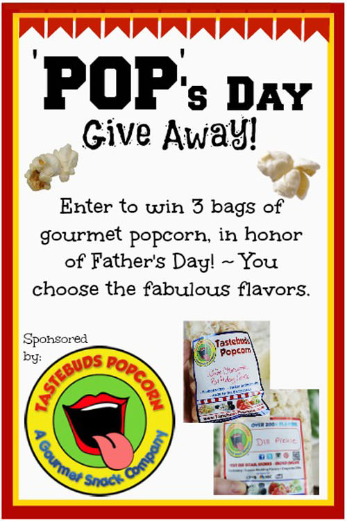 Win a tasty treat for Dad! {Father's Day Tastebuds Popcorn Giveaway!} OneCreativeMommy.com