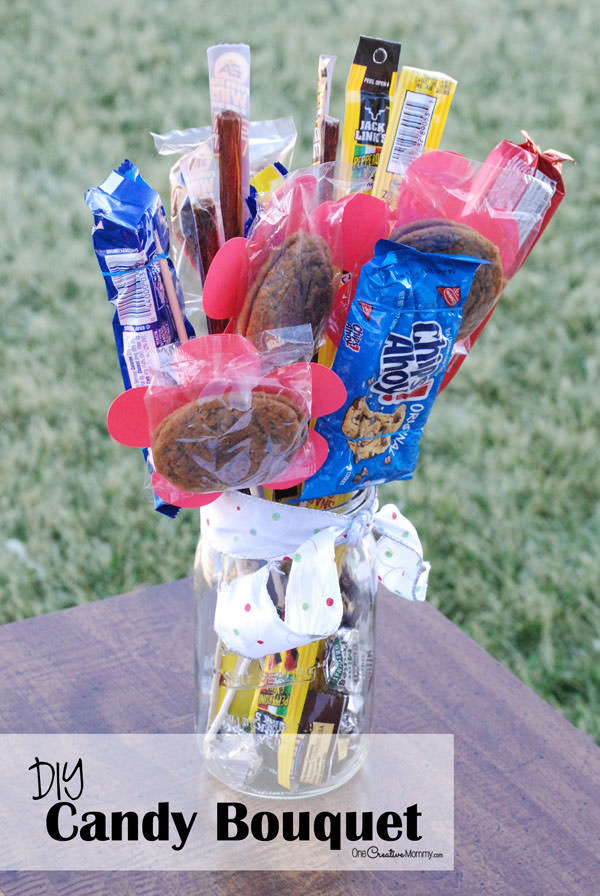 DIY Man Bouquet / Candy Bouquet -- Perfect for Father's Day and Valentines Day! {OneCreativeMommy.com} Great gift idea for Dad