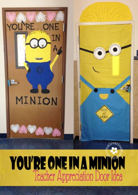 One In a Minion Teacher! {Teacher Appreciation Door Idea} OneCreativeMommy.com