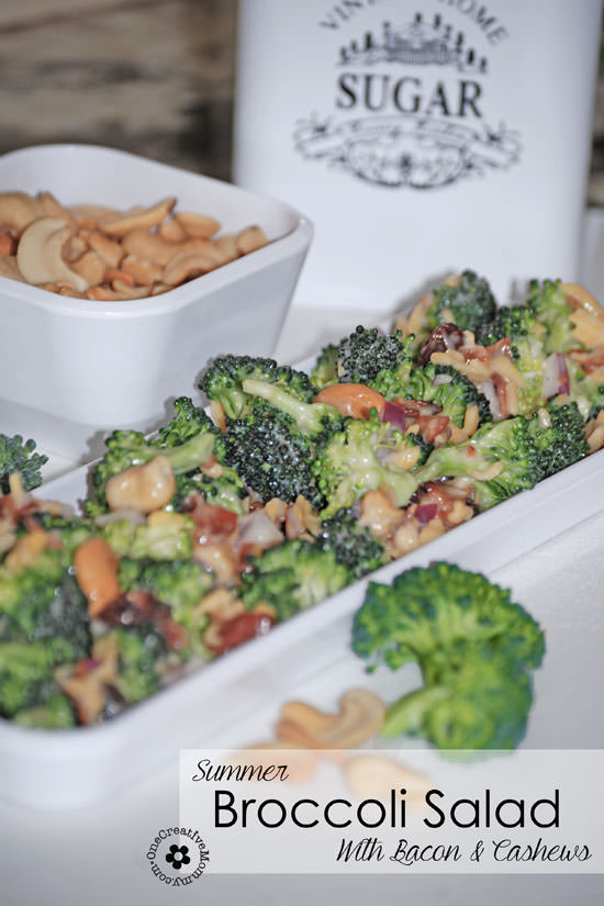 Perfect for Summer!  Broccoli salad with Bacon and Cashews {OneCreativeMommy.com} #broccolisalad #glutenfree