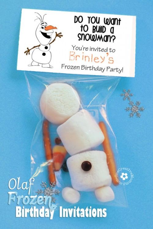 photo regarding Free Printable Frozen Invites called Olaf Frozen Invites