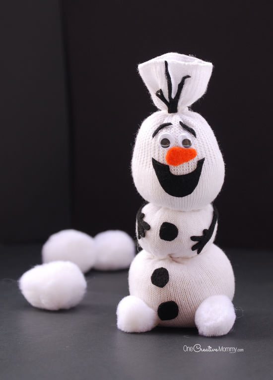 Olaf Sock Snowman by One Creative Mommy