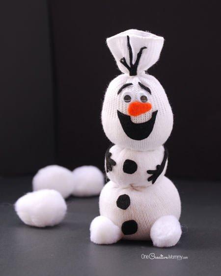 Olaf Sock Snowman Tutorial - onecreativemommy.com