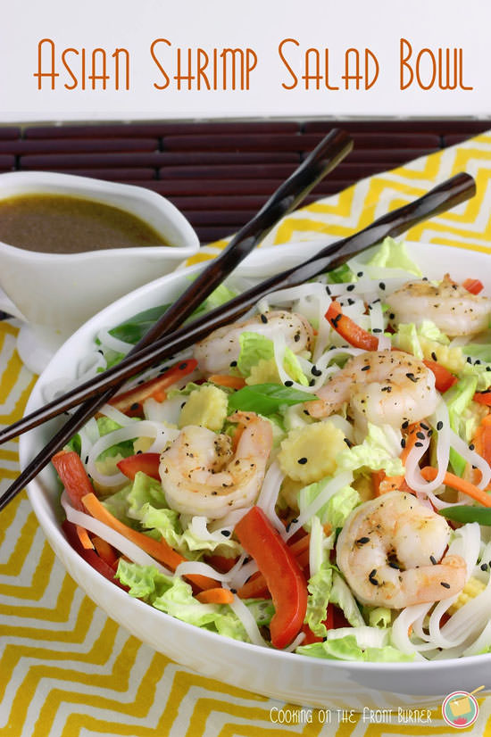 Asian Shrimp Salad bowl from Cooking on the Front Burners {20 Main Dish Salads Perfect for Summer on OneCreativeMommy.com}